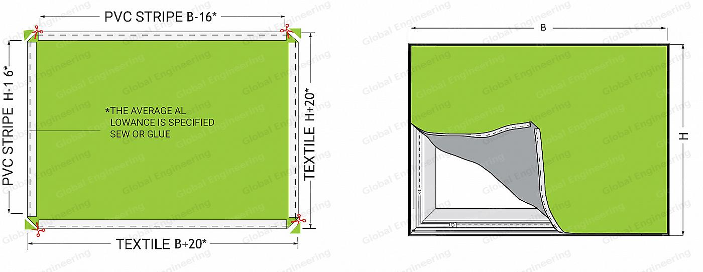 Scheme of canvas cutting for TexFrame 45 NEW